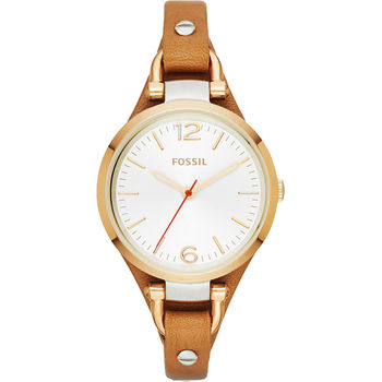 FOSSIL Slim 俏皮女孩時尚腕錶-銀x金框x卡其/32mm ES3565