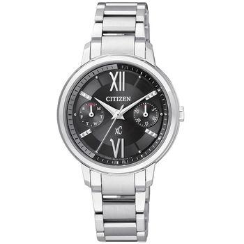 CITIZEN xC 海派甜心光動能時尚腕錶-黑x銀/30mm FD1010-53E