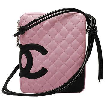 CHANEL 經典康朋系列雙C LOGO羊皮優雅側背包(芭比粉X黑)