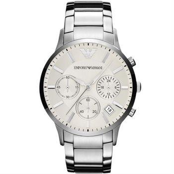 ARMANI 旗鑑型男計時腕錶-銀/46mm AR2458