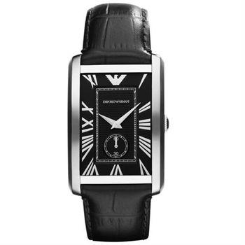 ARMANI 爵士時尚經典小秒針腕錶-黑/30x42mm AR1604