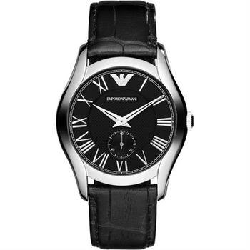 ARMANI 羅馬時尚小秒針腕錶-黑/42mm AR1703