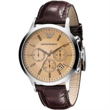 ARMANI 經典三眼計時皮帶腕錶-香檳/43mm AR2433