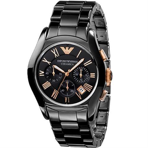 ARMANI 經典陶瓷三眼計時腕錶-黑x玫塊金/42mm AR1410