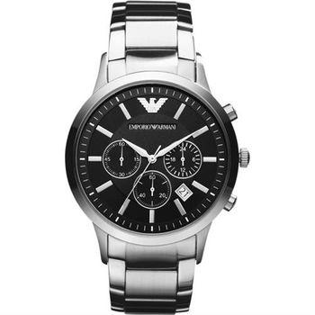 ARMANI Classic 王者時尚家三眼計時腕錶-黑x銀/43mm AR2434