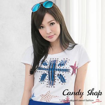 Candy小舖 新品特色款 休閒百搭款鉚釘破洞造型T恤-白色黑色(0097792)
