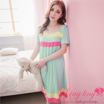 lingling日系 全尺碼-撞色橫紋牛奶絲短袖連身裙睡衣(清新綠)A2874-02