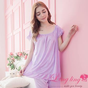 lingling日系 全尺碼-素面滾蕾絲荷葉邊短袖二件式睡衣組(浪漫淺紫)A2873-03
