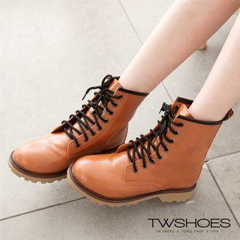 【TW Shoes】街頭中統低跟綁帶馬丁鞋軍靴/短靴【K118B1376】