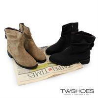 【TOMO】仿舊皮帶扣環側拉鍊粗跟機車靴(K127B3101)