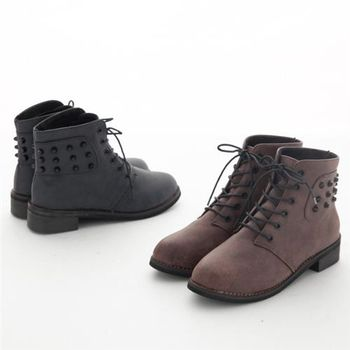 【TW Shoes】繫帶鉚釘內鋪毛軍靴(K127B1946)