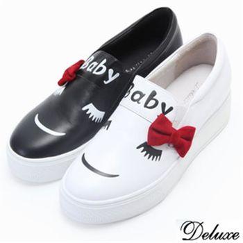 【Deluxe】全真皮韓系蝴蝶結俏皮厚底鬆高鞋(黑-白)