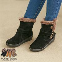 【TOMO】金屬扣環絨毛平底短靴【K127A2905】