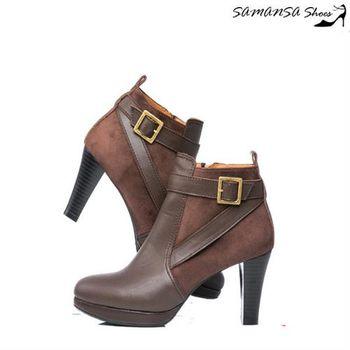 莎曼莎手工鞋【MIT全真皮】 輕時尚異材質拼接造型釦環踝靴 #14906--深可可