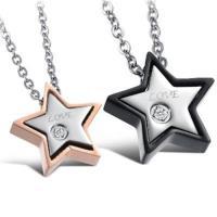 【米蘭精品】鈦鋼項鍊情侶對鍊(一對)經典星星鑲鑽百搭2色73cl67