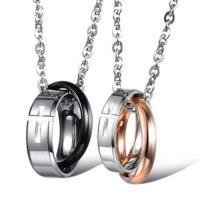 【米蘭精品】鈦鋼項鍊情侶對鍊(一對)時尚流行十字架鑲扣環2色73cl92