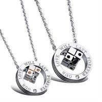 【米蘭精品】鈦鋼項鍊情侶對鍊(一對)骰子扣環鑲鑽風格2色73cl101