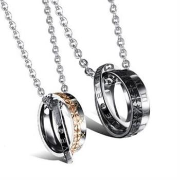 【米蘭精品】鈦鋼項鍊情侶鑲鑽對鍊(一對)時尚浪漫愛情密碼2色73cl5