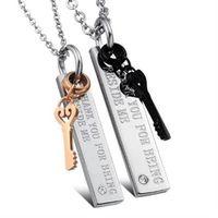 【米蘭精品】鈦鋼項鍊情侶對鍊(一對)高雅氣質心的鑰匙2色73cl20