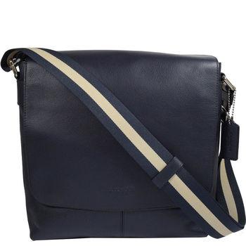 COACH 72362 經典LOGO烙印荔枝皮革雙色織帶斜背包.深藍