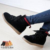 【TOMO】韓版絨布綁帶平底短筒靴【K137A2866】