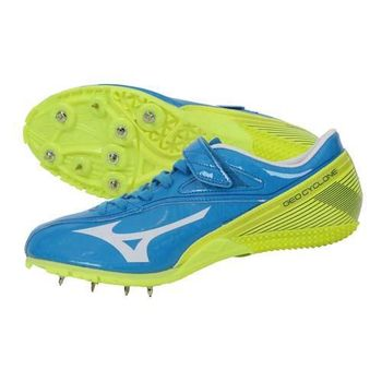 【MIZUNO】GEO CYCLONE 男女田徑釘鞋- 競賽 短距離 美津濃 水藍螢光綠