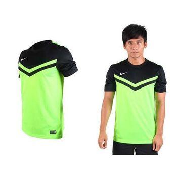 【NIKE】男短袖T恤-慢跑 休閒T 針織 螢光綠黑 DRI-FIT吸汗快乾