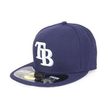【MLB】NEW ERA 光芒隊帽-AC- 59FIFTY 丈青水藍白