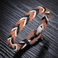 【米蘭精品】真皮手環鈦鋼手鍊多色編織皮繩造飾品73cq85