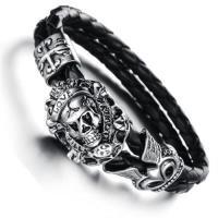 【米蘭精品】真皮手環鈦鋼手鍊搖滾骷髏頭造飾品73cq92