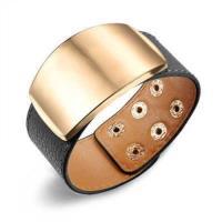【米蘭精品】真皮手環鈦鋼手鍊簡約寬版素面設計男女飾品2色73cq107
