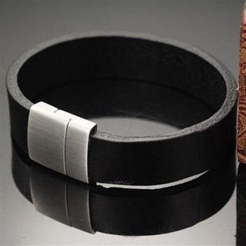【米蘭精品】真皮手環鈦鋼手鍊簡約素面商務設計男款73cq55