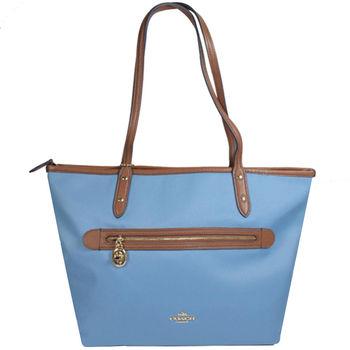 COACH 37237 馬車LOGO帆布皮飾邊肩背托特包.藍