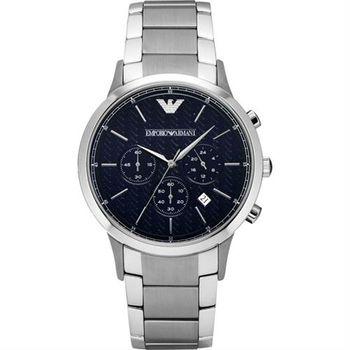 ARMANI Classic 都會新貴計時腕錶-黑x銀/43mm AR2486