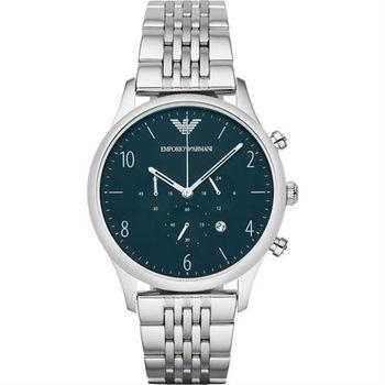 Emporio Armani Classic 紳士復刻計時腕錶-海軍藍x銀/43mm AR1942