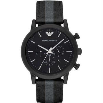 Emporio Armani Classic 帆布休閒計時腕錶-黑/46mm AR1948