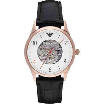 Emporio Armani 限量貝達系列機械錶-白x玫瑰金框/41mm AR1924