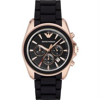 ARMANI Classic 雅爵計時錶-黑x玫瑰金框/44mm AR6066