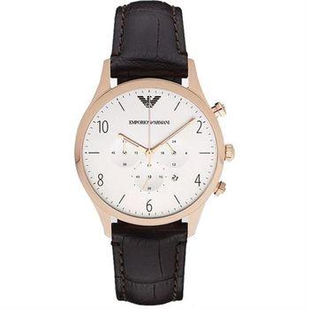 ARMANI Classic 紳士復刻計時腕錶-白x玫瑰金框/43mm AR1916