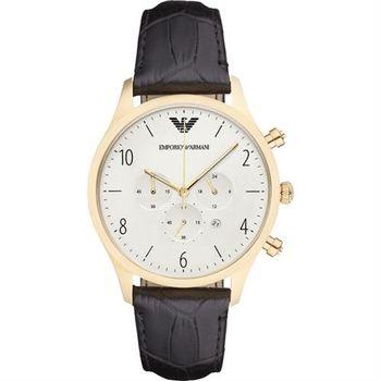 ARMANI Classic 復刻計時錶-銀x金框/43mm AR1892