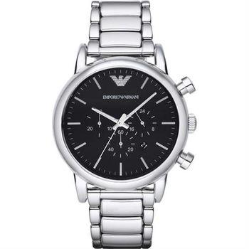 ARMANI Classic 紳士計時錶-黑x銀/46mm AR1894