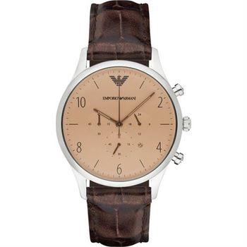 Emporio Armani Classic 紳士復刻經典計時腕錶-香檳金x咖啡/43mm AR1878