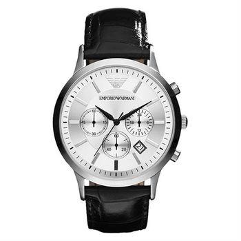 Emporio Armani Classic 王者時尚家三眼計時腕錶-銀x黑/43mm AR2432