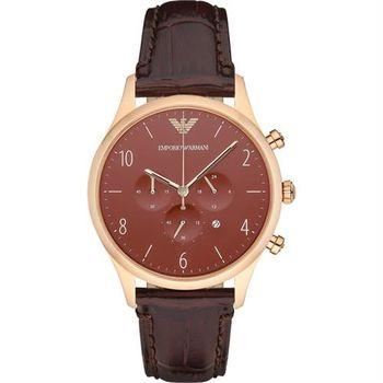 Emporio Armani Classic 復刻計時錶-咖啡x玫瑰金框/43mm AR1890