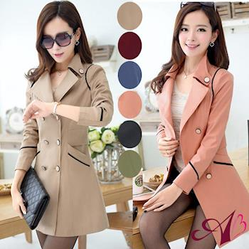 【A3】韓風雙排扣修身長版風衣外套-現貨+預購