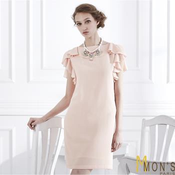 MONS 粉漾氣質雪紡洋裝