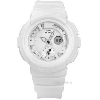 Baby-G CASIO / BGA-190BC-7B / 卡西歐就是愛旅行百搭休閒霧面指針雙顯橡膠手錶 白色 43mm