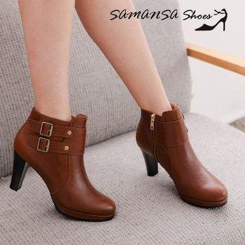 莎曼莎手工鞋【MIT全真皮】 簡約時尚側拉鍊雙排釦飾高跟踝靴-#14902 復古棕