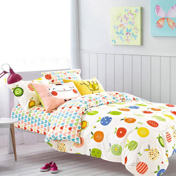 Belle Vie 精梳棉雙人床包被套四件組 愛吃水果
