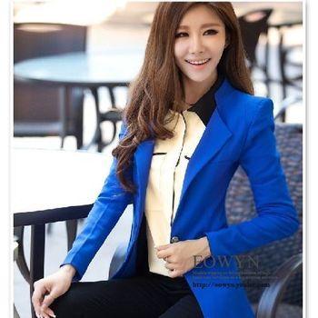 韓版修身百搭不規則通勤OL西裝長袖純色女外套白色/藍色/黑色/M/L/XL